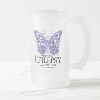 Mariposa de la epilepsia taza de cristal