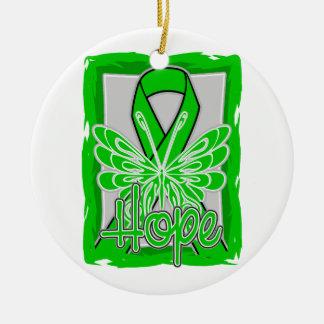 Mariposa de la esperanza de la enfermedad de riñón adorno navideño redondo de cerámica
