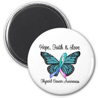 Mariposa de la esperanza del cáncer de tiroides imán redondo 5 cm