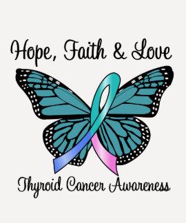 Mariposa de la esperanza del cáncer de tiroides camisetas