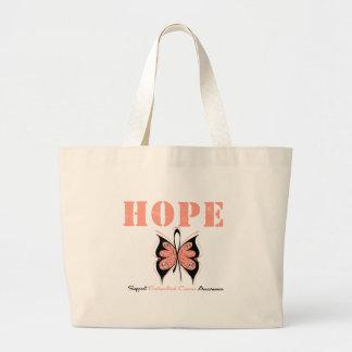 Mariposa de la esperanza del cáncer endometrial bolsa tela grande