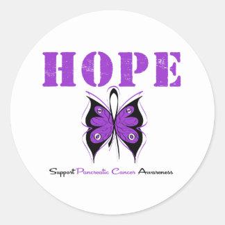 Mariposa de la esperanza del cáncer pancreático pegatinas redondas