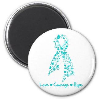 Mariposa de la esperanza del valor del amor - cánc imán redondo 5 cm