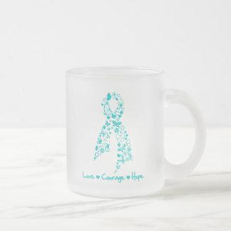 Mariposa de la esperanza del valor del amor - cánc taza cristal mate