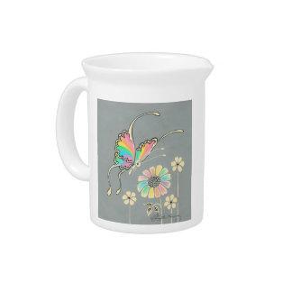Mariposa de la fantasía del arco iris jarra para bebida