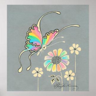 Mariposa de la fantasía del arco iris impresiones