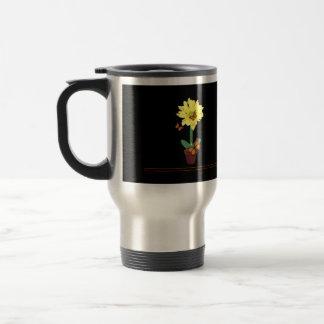Mariposa de la flor de la margarita tazas de café