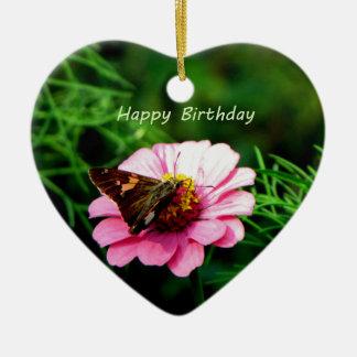 Mariposa de la flor del rosa del feliz cumpleaños ornaments para arbol de navidad