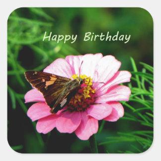 Mariposa de la flor del rosa del feliz cumpleaños calcomanías cuadradass