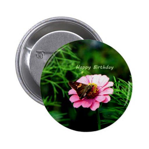 Mariposa de la flor del rosa del feliz cumpleaños pin