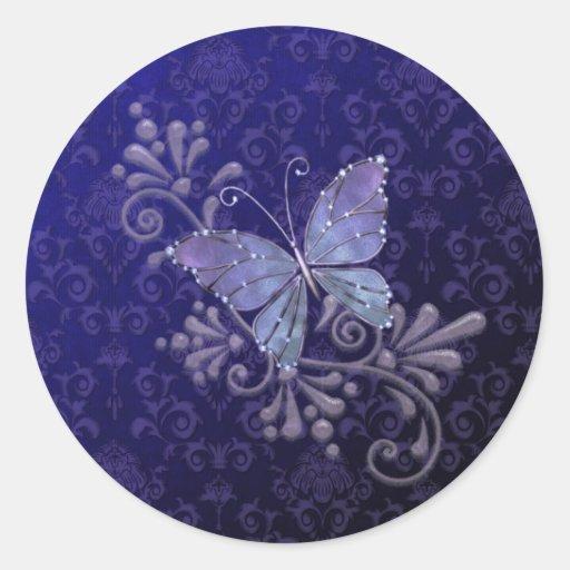 Mariposa de la joya pegatina redonda