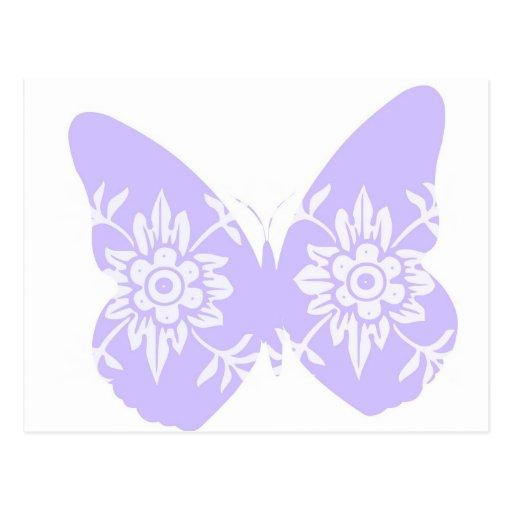 Mariposa de la lila floral tarjeta postal