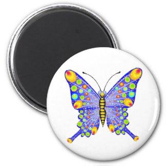 Mariposa de la mirada del brillo imán redondo 5 cm