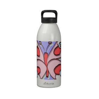 Mariposa de la mosca del hippy botella de agua reutilizable