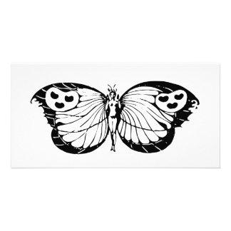 Mariposa de la mujer tarjeta fotografica