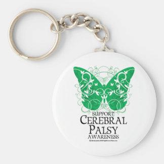 Mariposa de la parálisis cerebral llavero redondo tipo pin