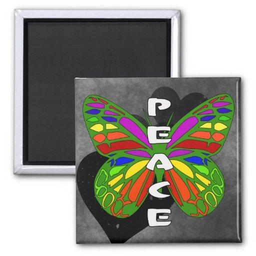 Mariposa de la paz imán cuadrado