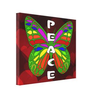Mariposa de la paz lona envuelta para galerias