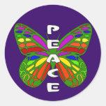 Mariposa de la paz pegatinas redondas