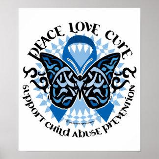 Mariposa de la prevención de la pederastia tribal póster