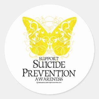Mariposa de la prevención del suicidio etiqueta redonda