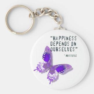 Mariposa de la púrpura de la felicidad llavero