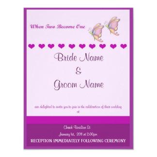 Mariposa de la púrpura de la invitación del boda