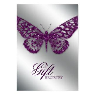 Mariposa de la púrpura de la tarjeta de registro d tarjetas de visita
