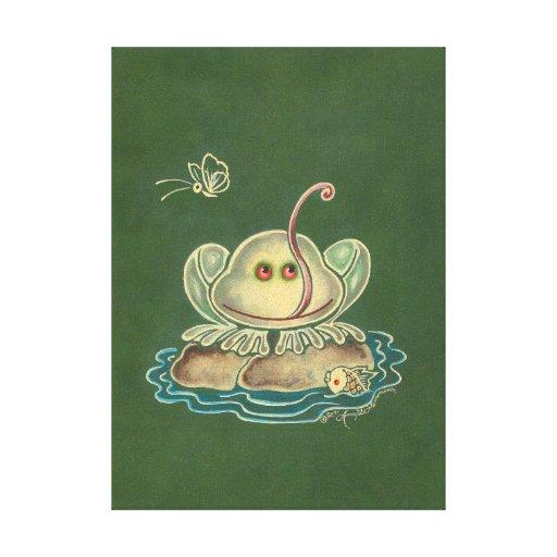 Mariposa de la rana divertida lona envuelta para galerías
