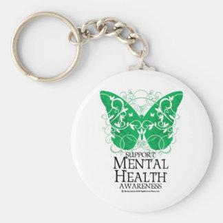 Mariposa de la salud mental llavero redondo tipo pin