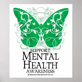 Mariposa de la salud mental póster