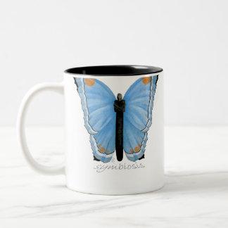 Mariposa de la simbiosis taza dos tonos
