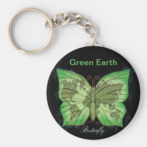 Mariposa de la tierra verde llavero personalizado