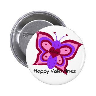 Mariposa de las tarjetas del día de San Valentín,  Pin Redondo De 2 Pulgadas