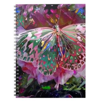 Mariposa de levantamiento del amanecer libros de apuntes con espiral