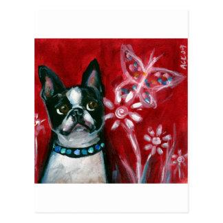 Mariposa de los ojos de Boston Terrier Postales