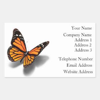 Mariposa de los pegatinas de la tarjeta de visita pegatina rectangular