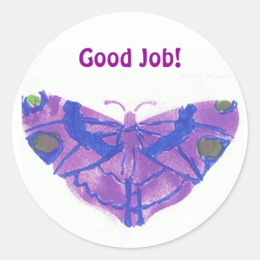 """Mariposa de los pegatinas w/purple del """"buen pegatina redonda"""