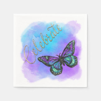 Mariposa de Mitzvah del palo púrpura y azul Servilleta De Papel