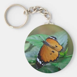 Mariposa de monarca africana tramada fuera de llavero redondo tipo pin