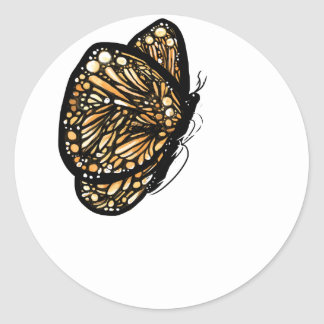 Mariposa de monarca, apenas aterrizada pegatina redonda