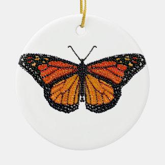 Mariposa de monarca Bedazzled Adorno Redondo De Cerámica