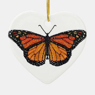 Mariposa de monarca Bedazzled Adorno De Cerámica En Forma De Corazón