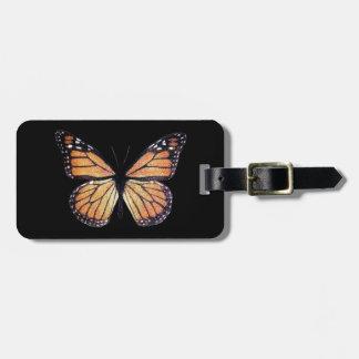 Mariposa de monarca bonita en negro etiquetas de equipaje