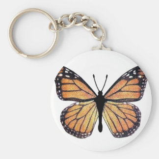 Mariposa de monarca bonita llavero redondo tipo pin