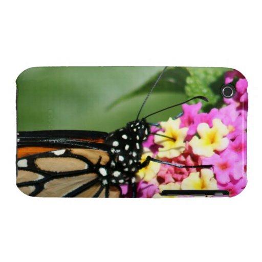 Mariposa de monarca, caso del Lantana Flowers.Case Case-Mate iPhone 3 Cárcasas