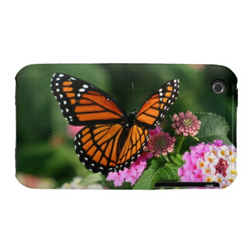 Mariposa de monarca, caso del Lantana Flowers.Case iPhone 3 Case-Mate Cobertura