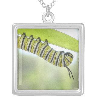 Mariposa de monarca Caterpillar que explora un Colgante Cuadrado