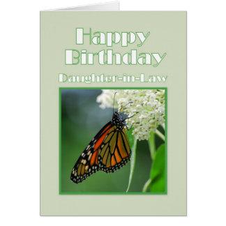 Mariposa de monarca de la nuera del feliz tarjeta de felicitación