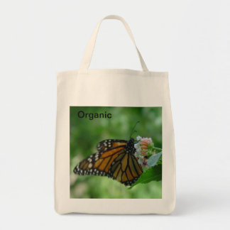 Mariposa de monarca en bolso de ultramarinos bolsa tela para la compra